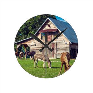 Beautiful Farm Scene with Horses and Barn Round Clock
