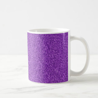 Beautiful fashionable girly purple glitter effect basic white mug