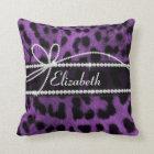 Beautiful faux purple black leopard animal print cushion