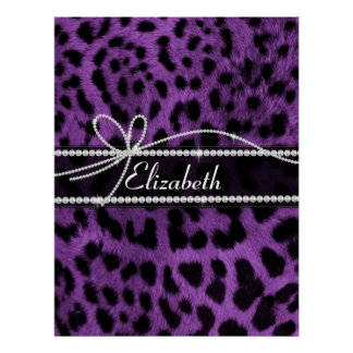 Beautiful faux purple black leopard animal print