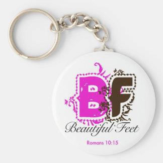 beautiful feet logo basic round button key ring