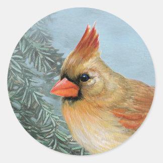 Beautiful Female Cardinal Round Sticker