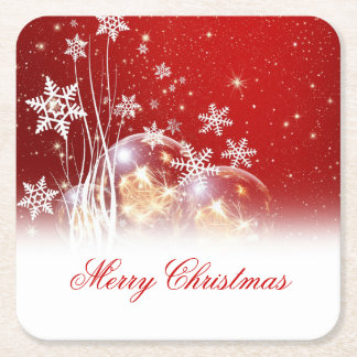"Beautiful festive ""Merry Christmas"" illustration Square Paper Coaster"