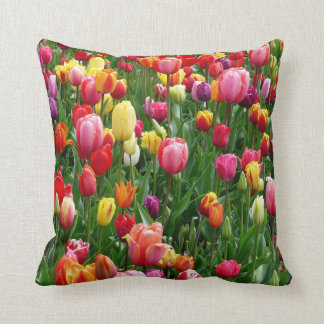 Beautiful Field Of Tulips, Colorful Throw Pillow