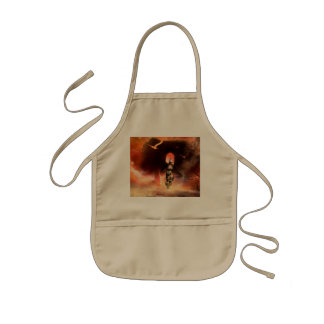 Beautiful fighter in the universe with ruins kids apron