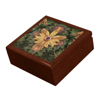 Beautiful Filigree Oxidized Copper Fractal Orchid Gift Box