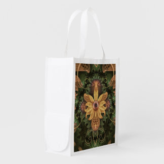 Beautiful Filigree Oxidized Copper Fractal Orchid Reusable Grocery Bag
