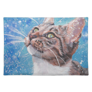 Beautiful Fine Art Tabby Cat in Snow Painting Placemat