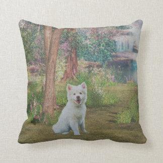 Beautiful Finnish Lapphund Dog in Forest Cushion