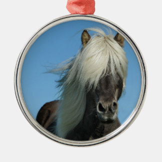 BEAUTIFUL FJORD PONY HORSE STALLION METAL ORNAMENT
