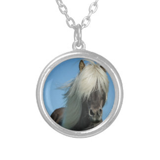 BEAUTIFUL FJORD PONY HORSE STALLION SILVER PLATED NECKLACE