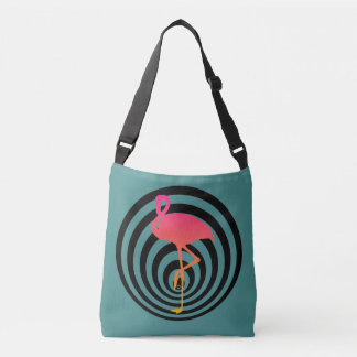 Beautiful flamingo in circles crossbody bag