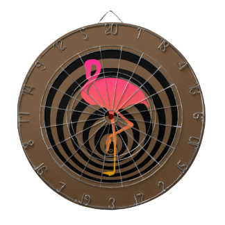 Beautiful flamingo in circles dartboard
