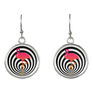 Beautiful flamingo in circles earrings