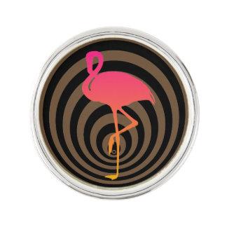 Beautiful flamingo in circles lapel pin