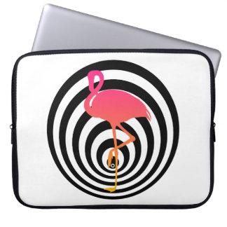 Beautiful flamingo in circles laptop sleeve