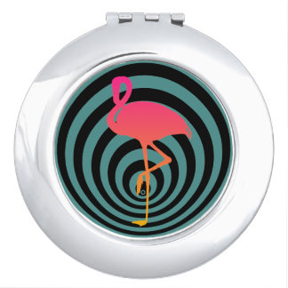 Beautiful flamingo in circles makeup mirror