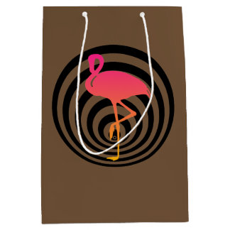 Beautiful flamingo in circles medium gift bag