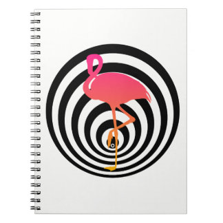 Beautiful flamingo in circles notebook