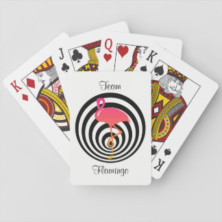 Beautiful flamingo in circles playing cards