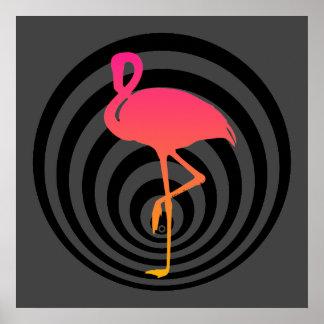 Beautiful flamingo in circles poster