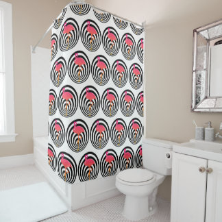 Beautiful flamingo in circles shower curtain