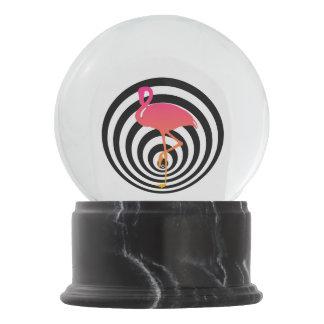 Beautiful flamingo in circles snow globe