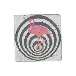 Beautiful flamingo in circles stone magnet