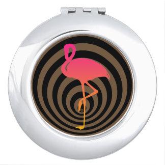 Beautiful flamingo in circles vanity mirror