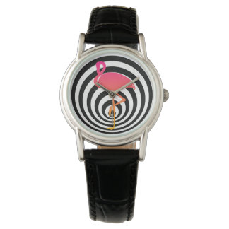 Beautiful flamingo in circles watch