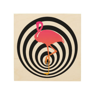 Beautiful flamingo in circles wood print