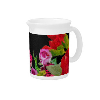 Beautiful Floral Abstract Black Drink Pitchers