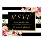 Beautiful Floral Black White Stripes Wedding RSVP Postcard