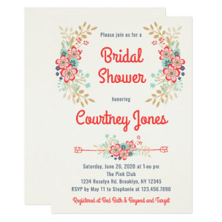 Beautiful Floral Bridal Shower Invitation