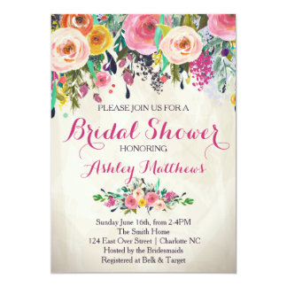 Beautiful Floral Bridal Shower Invitation, Baby 13 Cm X 18 Cm Invitation Card