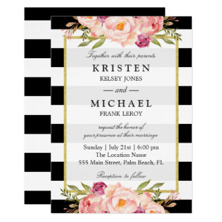 Beautiful Floral Classy Stripes Formal Wedding Card
