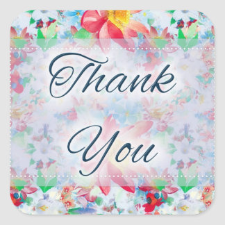 Beautiful Floral D3 Thank You Stickers