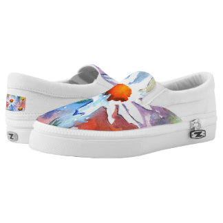 Beautiful Floral Daisy Watercolour Slip On Shoes