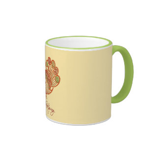 Beautiful Floral Decorated Shiny Turkey Bird Coffee Mug