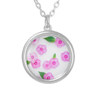 beautiful floral decoration silver plated necklace