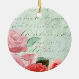 beautiful floral design Vintage Rose Round Ceramic Decoration