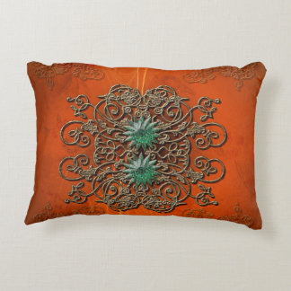 Beautiful floral elements with stars decorative cushion
