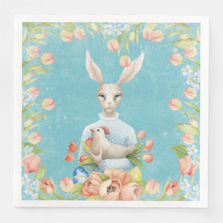 Beautiful Floral Flowers Animal Easter Bunny Paper Napkin