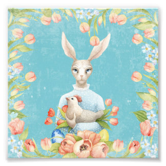 Beautiful Floral Flowers Animal Easter Bunny Photo