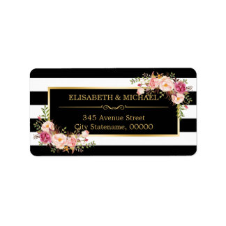 Beautiful Floral Gold Decor Black White Stripes Address Label