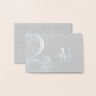 Beautiful Floral Monogram and Name Foil Card