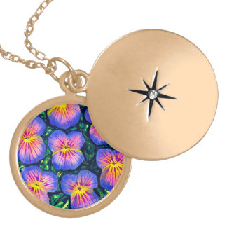 Beautiful Floral Pansy Watercolor Necklace Locket