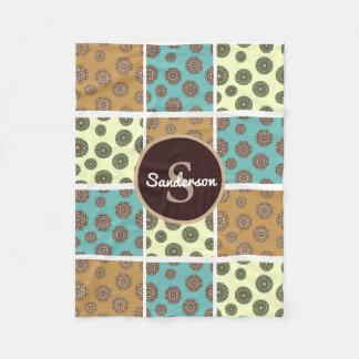 Beautiful Floral Patchwork w/Personalization Fleece Blanket