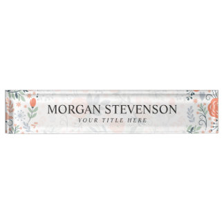 Beautiful Floral Pattern Girly Name Plate