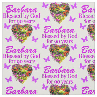BEAUTIFUL FLORAL PERSONALIZED 90TH BIRTHDAY FABRIC